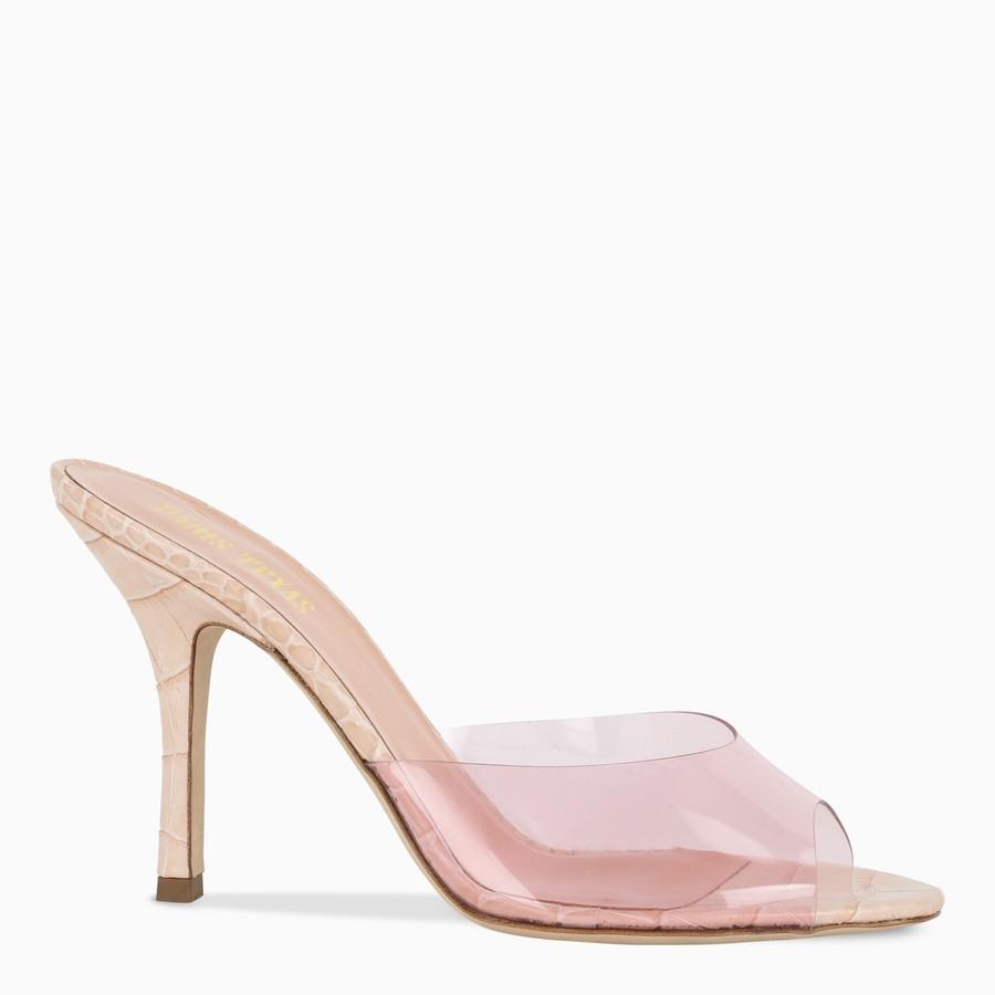 Paris Texas, Pink croc-effect leather and PVC sandals, Shoes, Woman, PX573XPVCC/I_PATEX-PO, 01