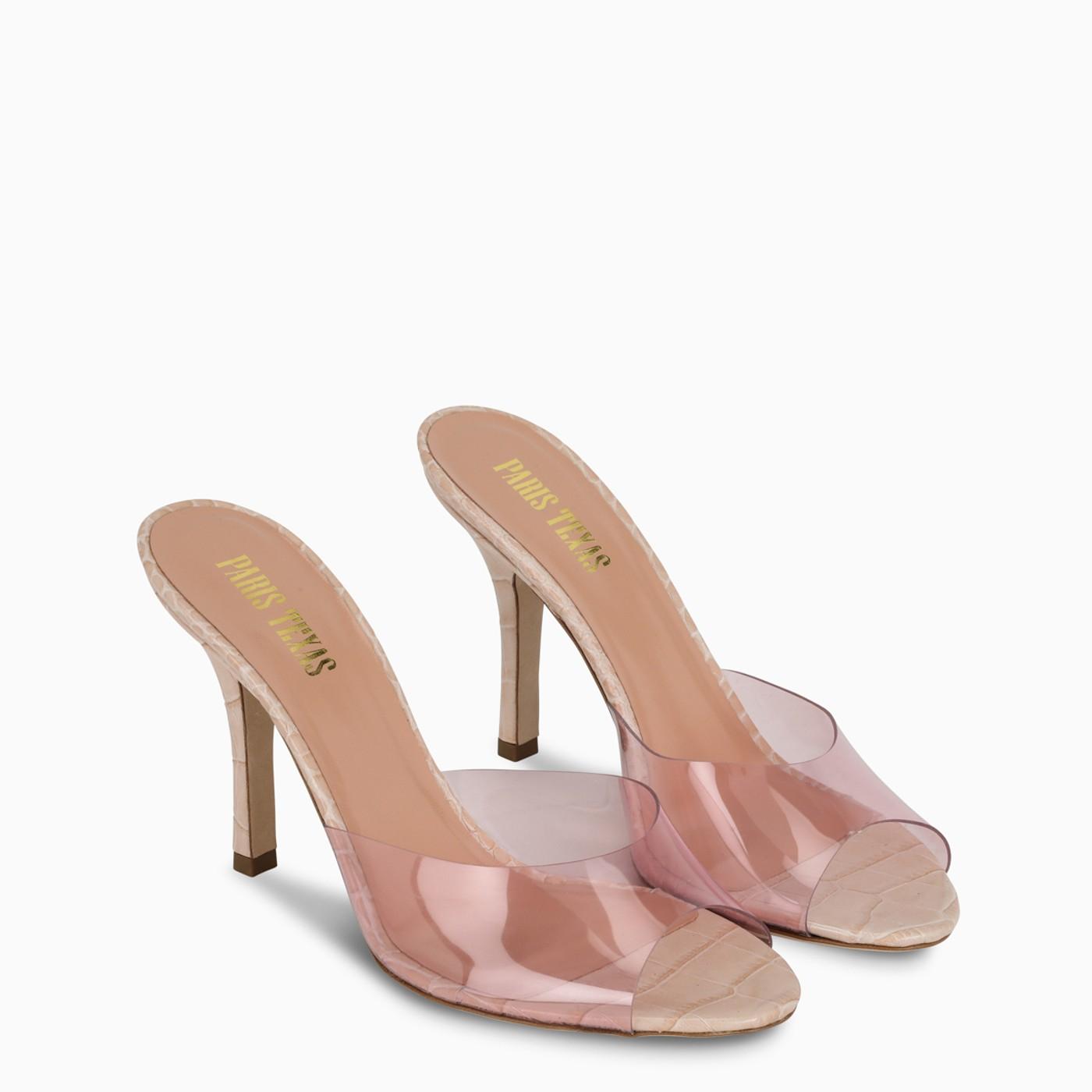 Paris Texas, Pink croc-effect leather and PVC sandals, Shoes, Woman, PX573XPVCC/I_PATEX-PO, 02