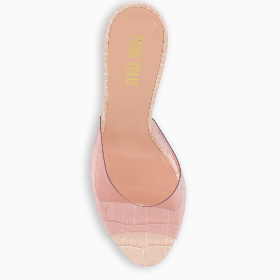Paris Texas, Pink croc-effect leather and PVC sandals, Shoes, Woman, PX573XPVCC/I_PATEX-PO, 03